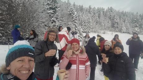 Snowshoeing-drinking