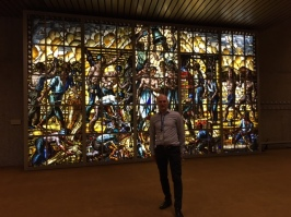 Dad - Sean @ the International Labour Organisation - people working mural in stained glass